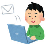 メールを送信する男性
