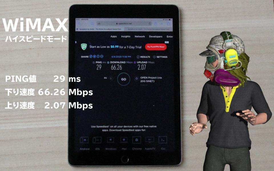 WiMAX実行速度