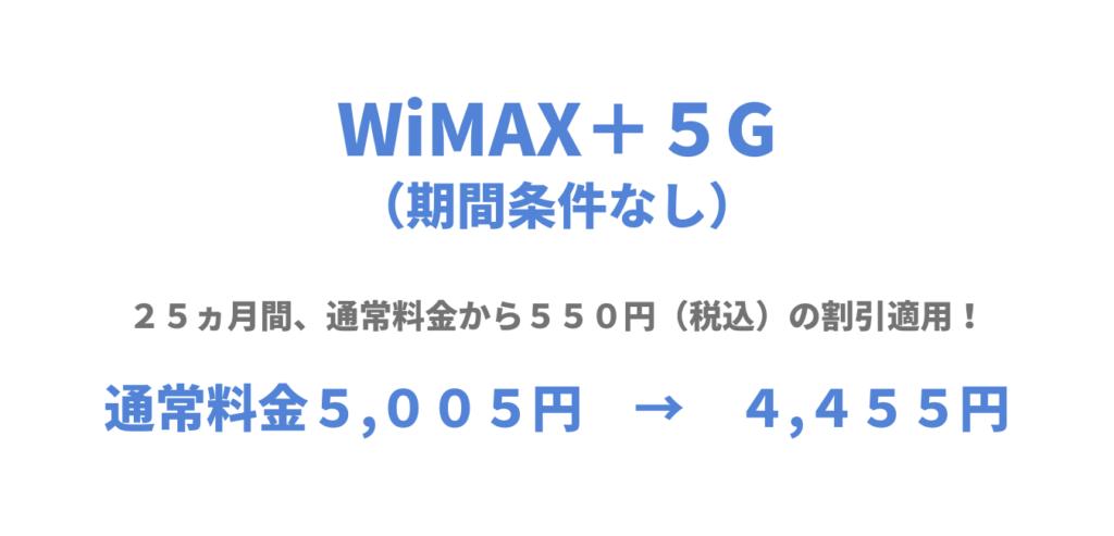 UQWiMAX期間条件なし「WiMAX+5Gはじめる割」